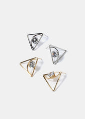 Large Triangle Gemstone Earrings