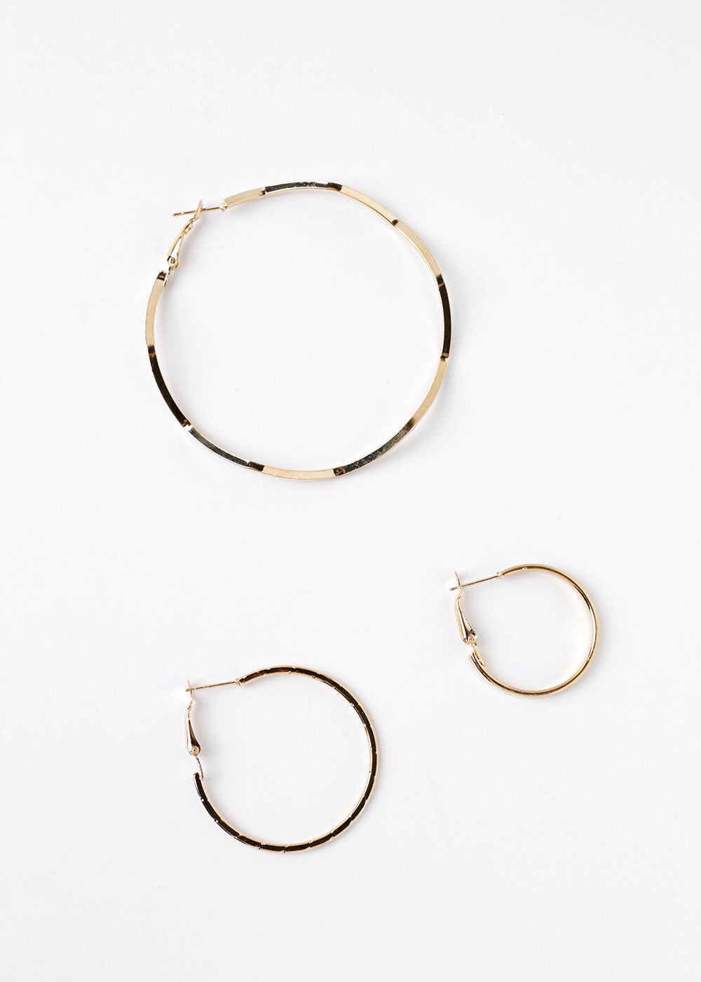 3 Pair Multi Design Hoop Earrings