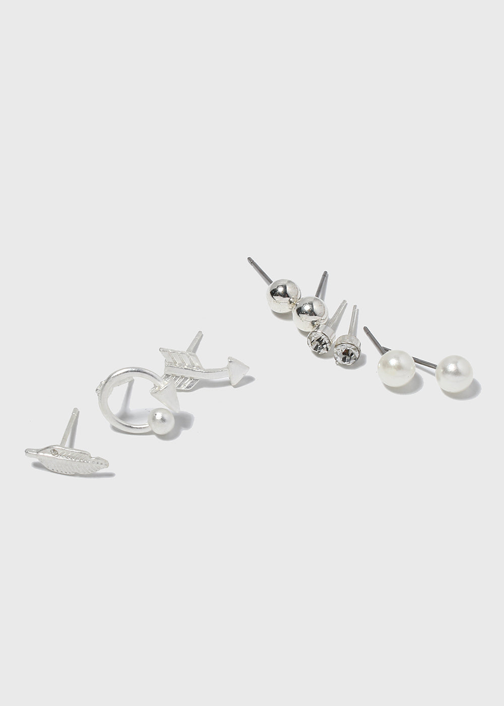 6 Pair Arrow & Leaf Stud Set