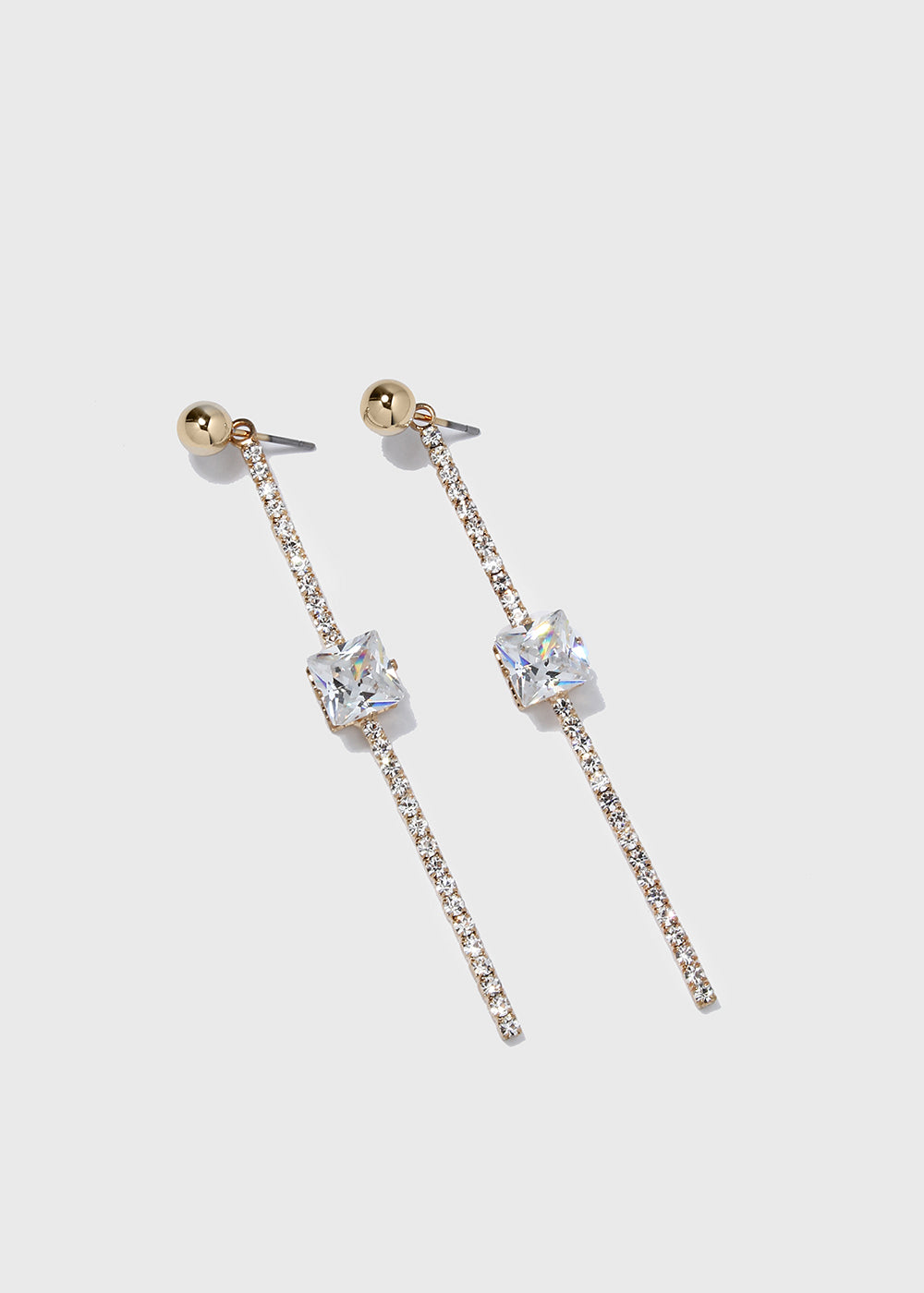 Rhinestone Bar & Gem Earrings