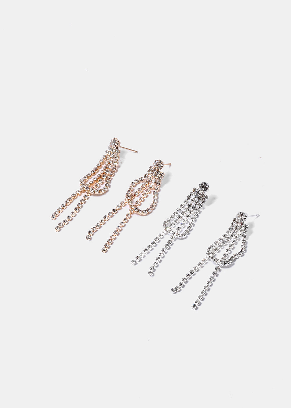 Short Fringe Rhinestone Earrings