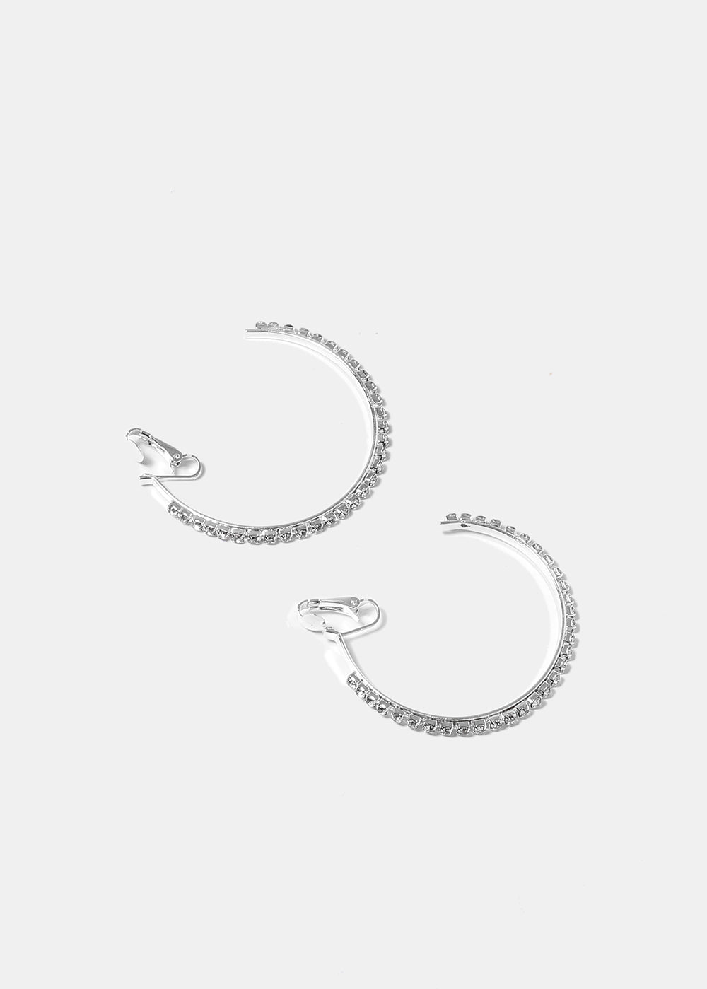 Clip-On Rhinestone Open Hoop Earrings
