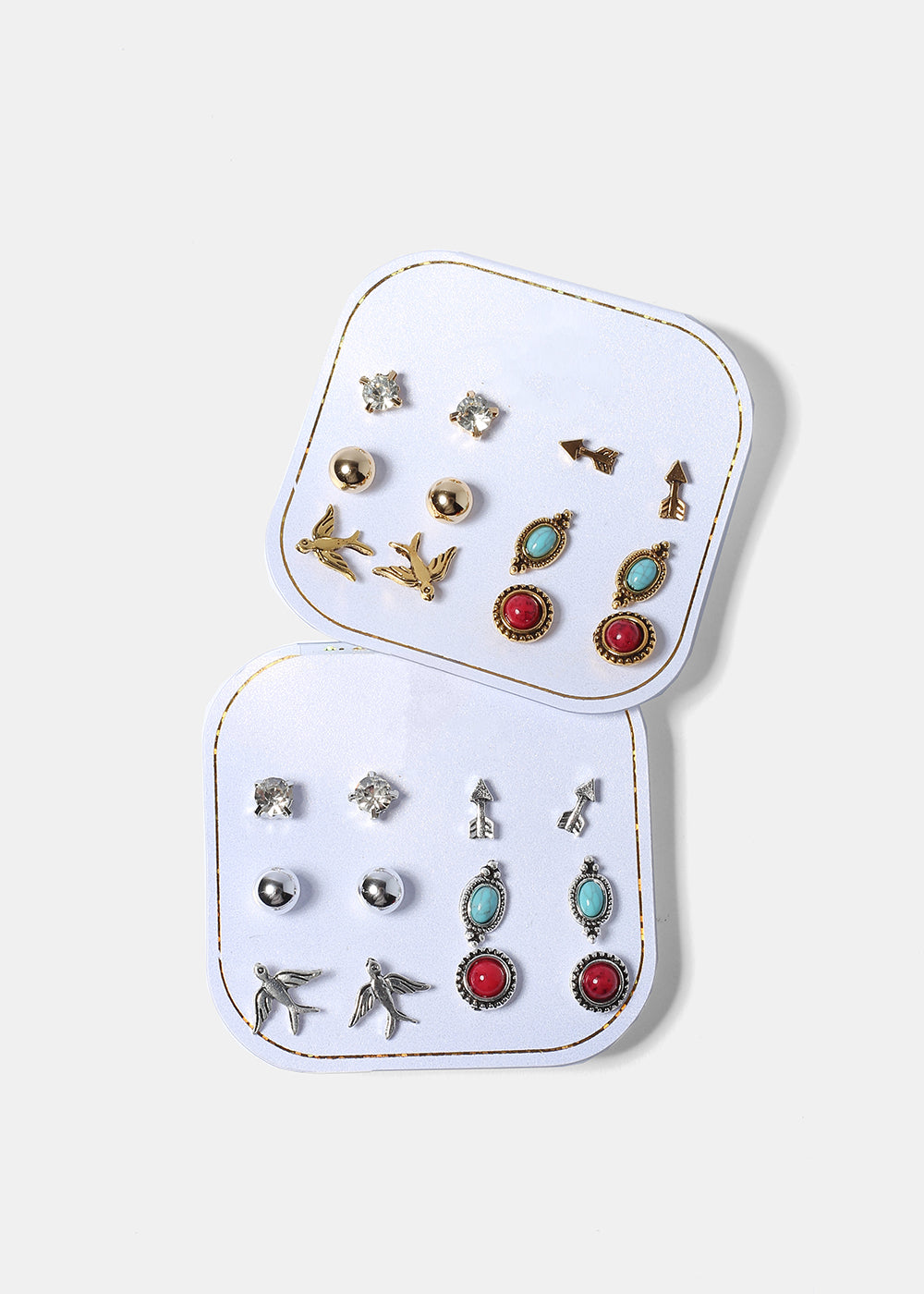 6 Pair Bird & Arrow Earring Set