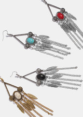 Feather & Stone Dangle Earrings