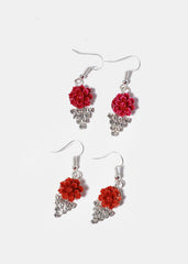 Flower Rhinestone Earrings