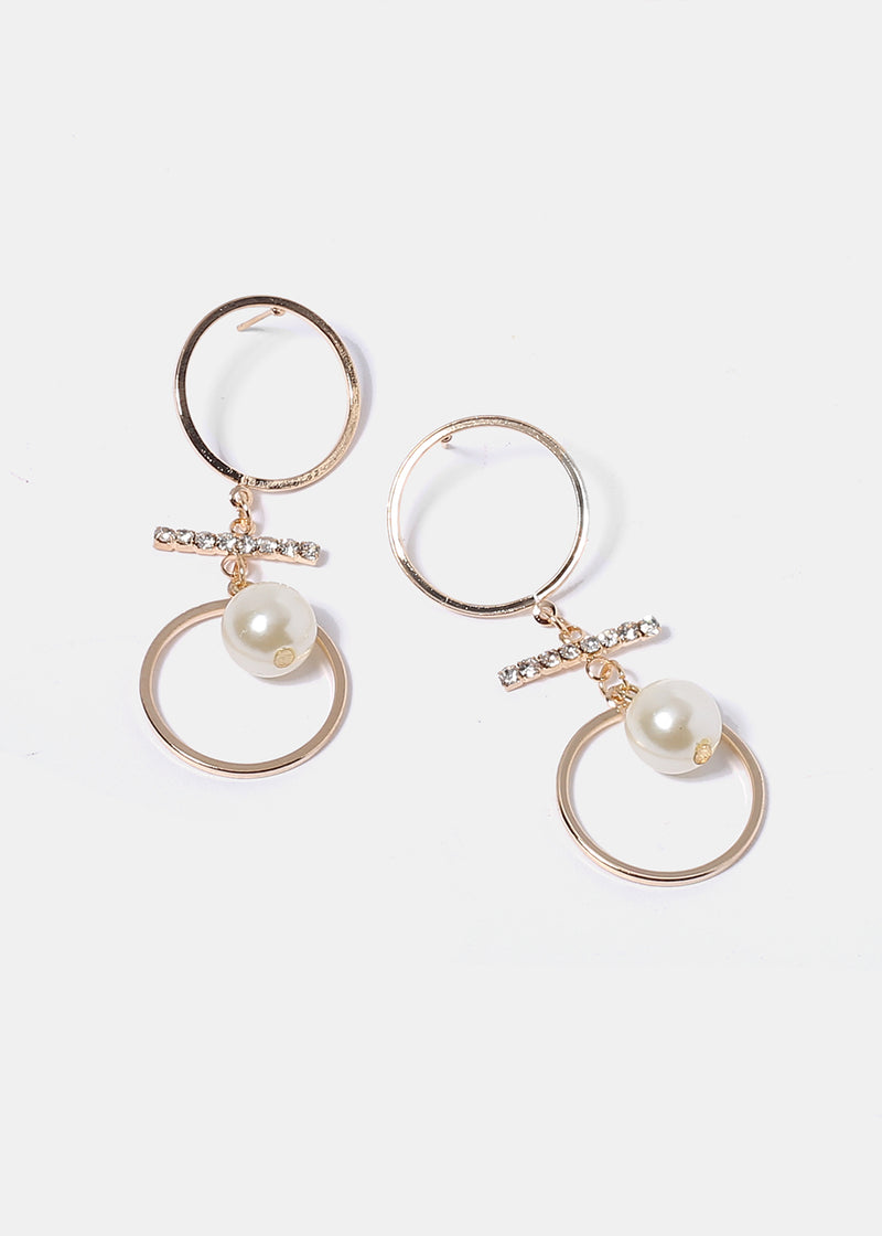 Double Circle & Pearl Earrings