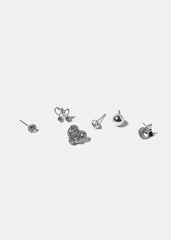6 Pair Heart & Ball Stud Set