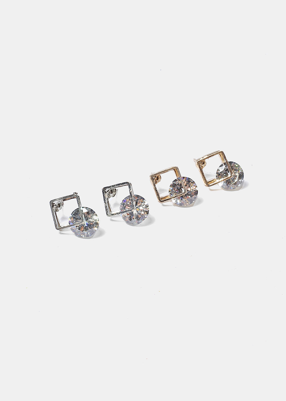 Open Square Gem Studs