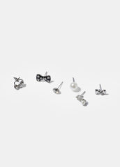 6 Pair Bow & Apple Stud Earrings