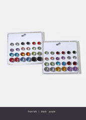 12 Pair Colored Gemstone Stud Earrings