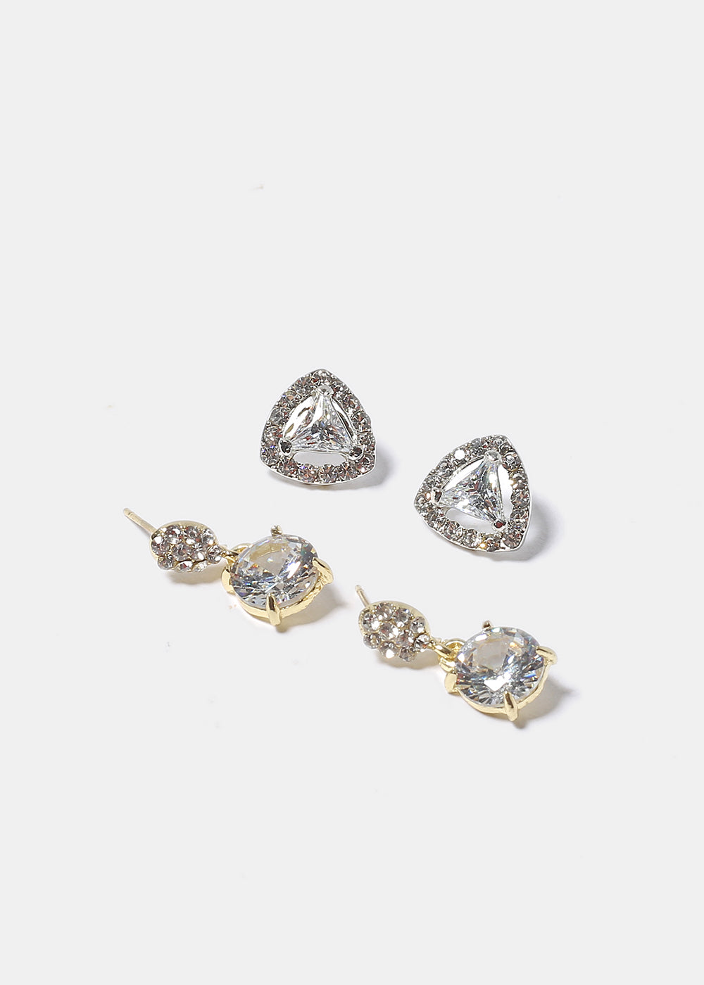 Triangle & Circle Gem Earrings