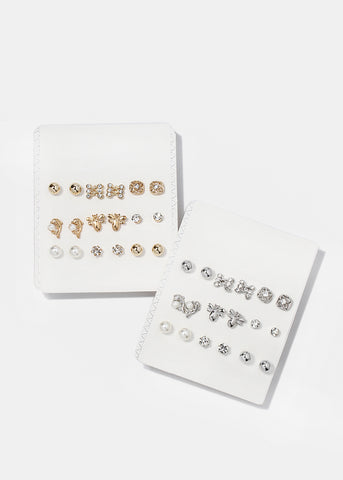 9 Pair Dolphin & Pearl Stud Set