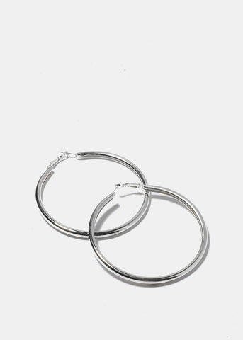 Large Silver Rounded Hoops
