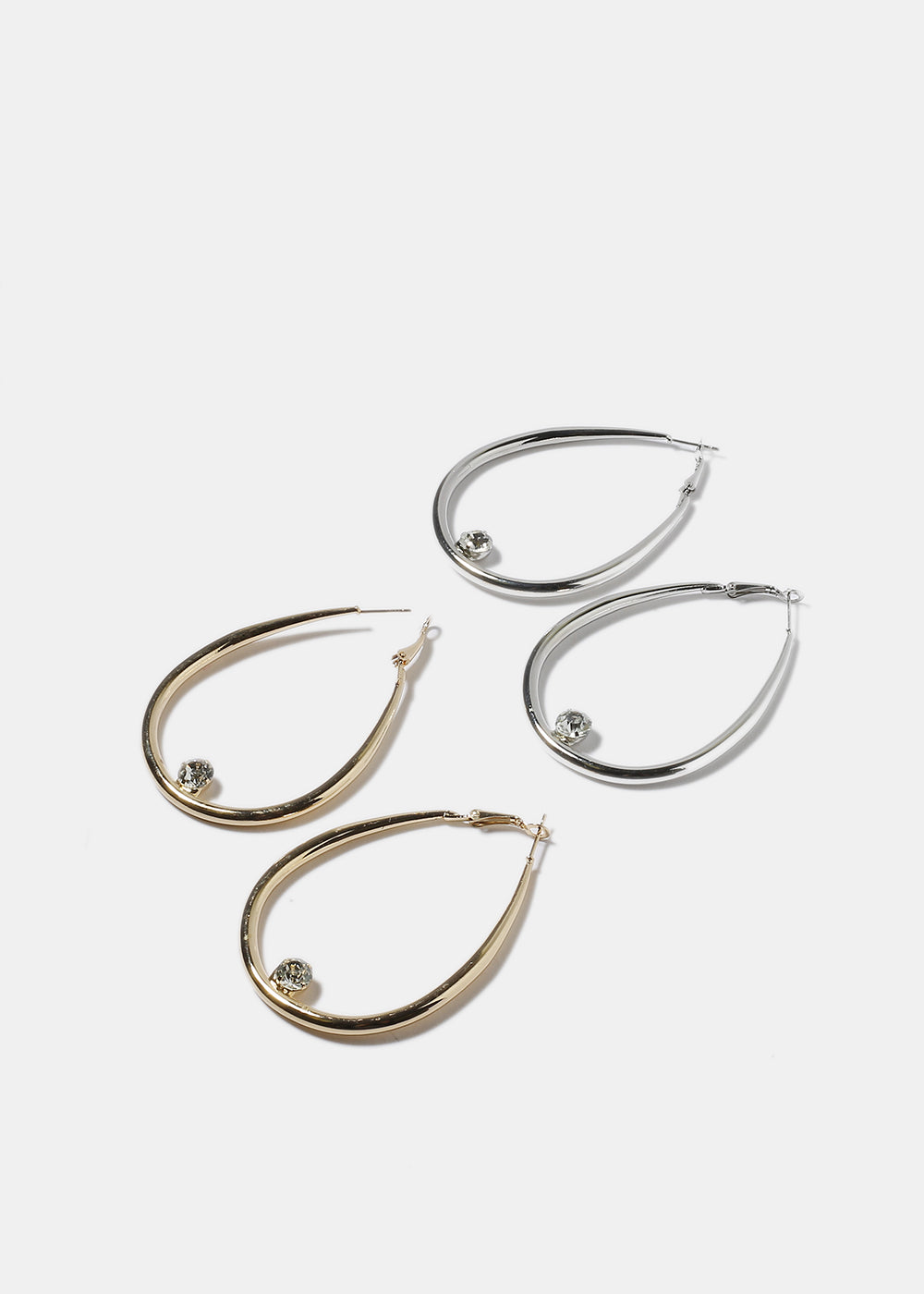 Tear Drop Gem Hoop Earrings