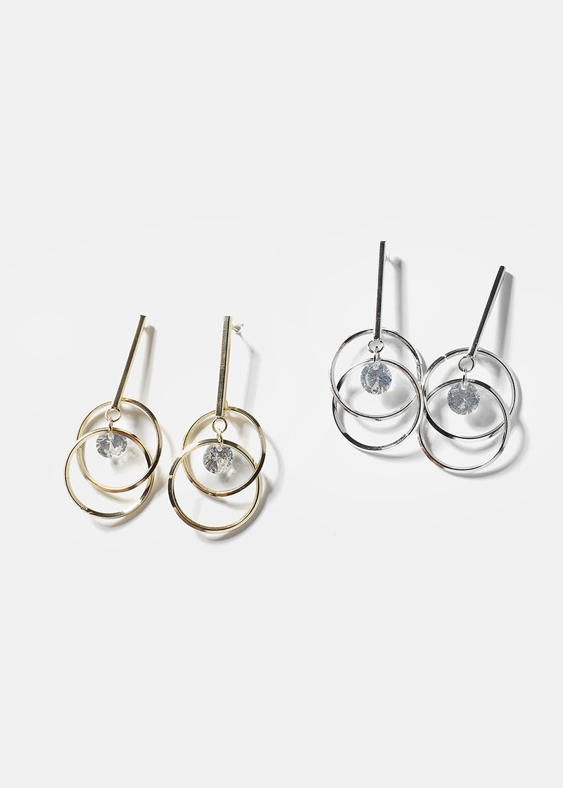 Layered Circle & Bar Gem Earrings