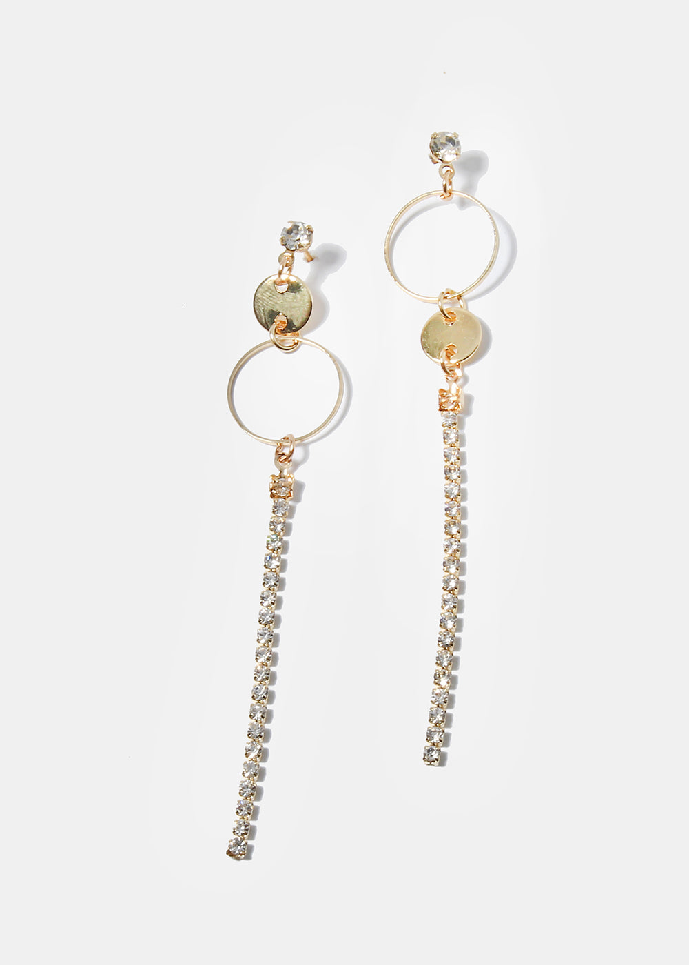 Circle & Rhinestone Drop Earrings