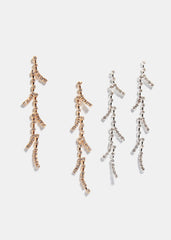 Rhinestone Branch Drop Earrings