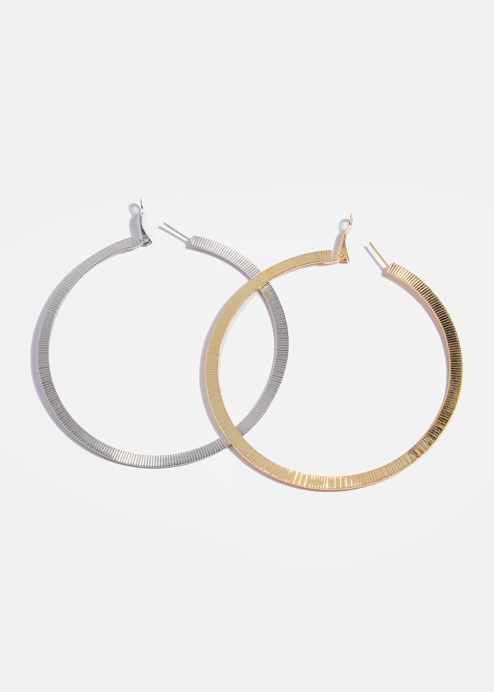 Flat Ridged Hoop Earrings