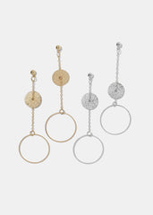 Texture Metal Disc & Circle Earrings