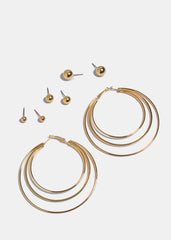 4 Pair Hoop & Ball Earring Set
