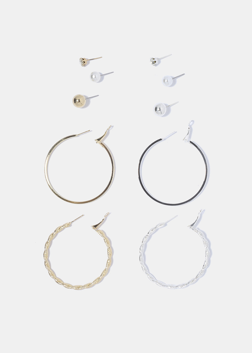 6 Pair Hoop & Stud Earring Set