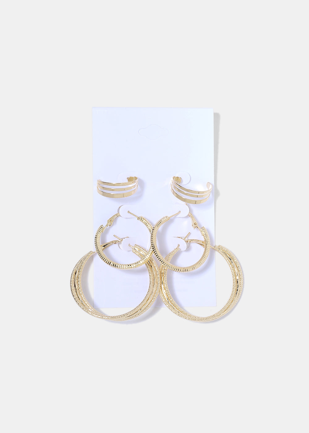 3 Pair Textured Hoop Earrings