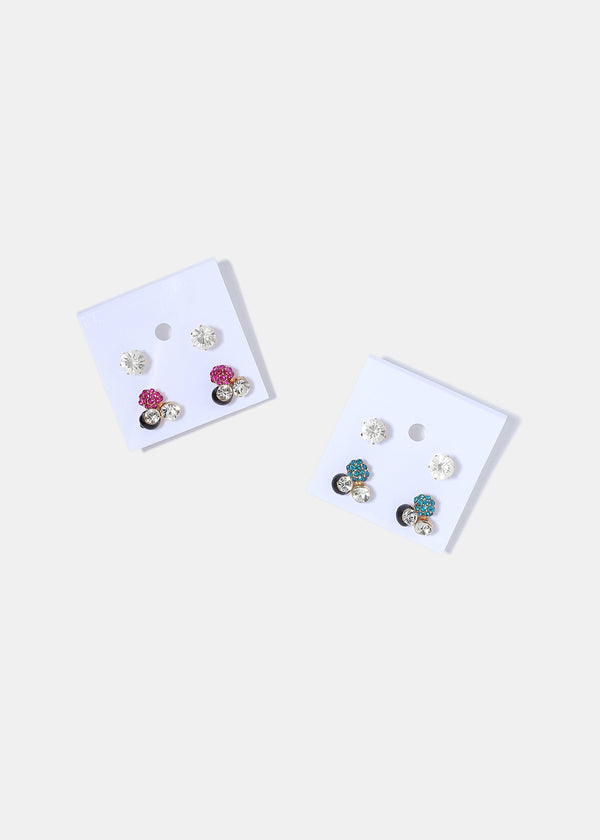2 Pair Gem Cluster Stud Set
