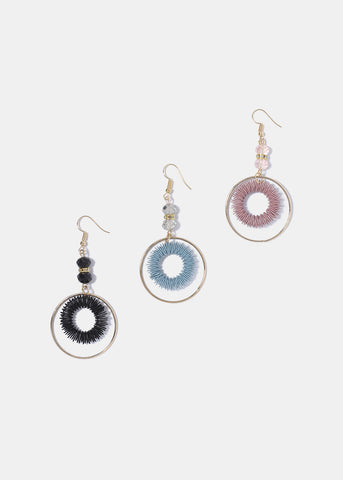 Colored Coil Circle Earrings