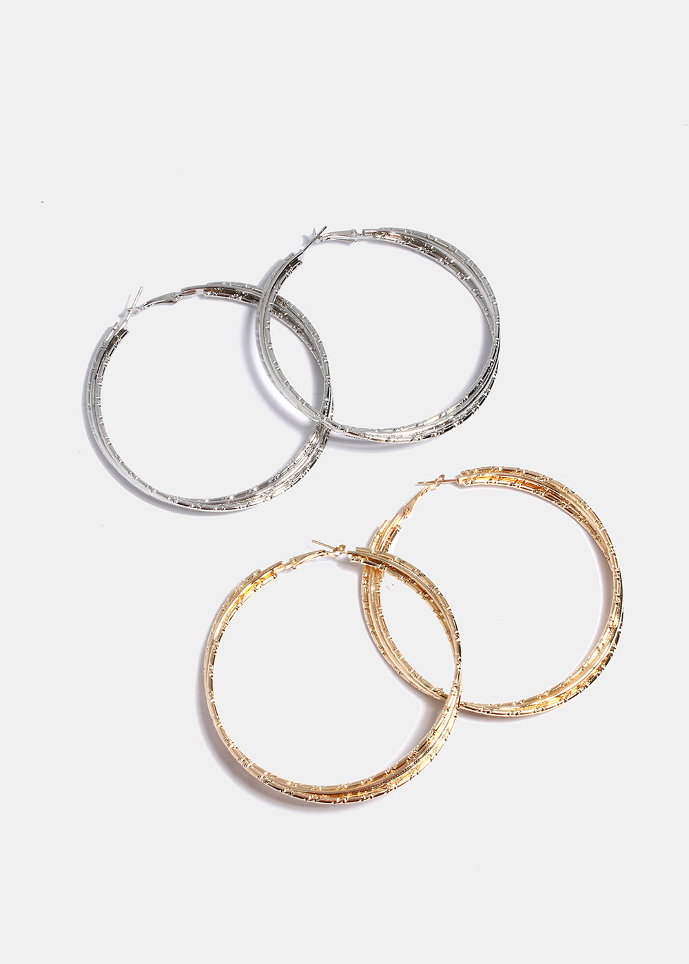 Layered Ridged Hoop Earrings
