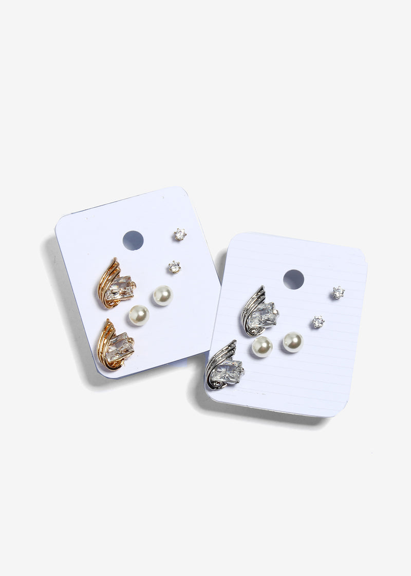 3 Piece Gem & Pearl Stud Set