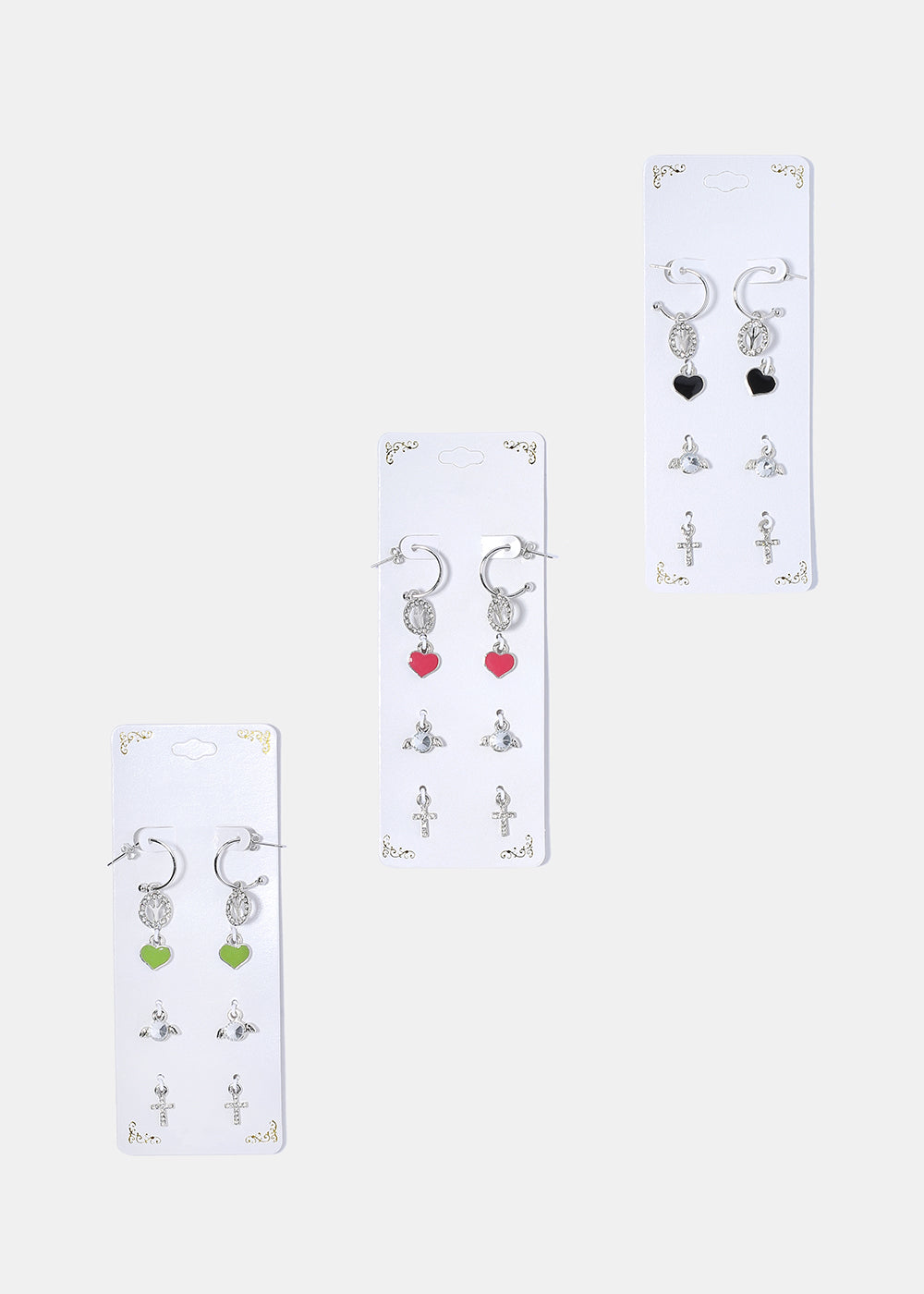4 Pair Heart Charm Earring Set