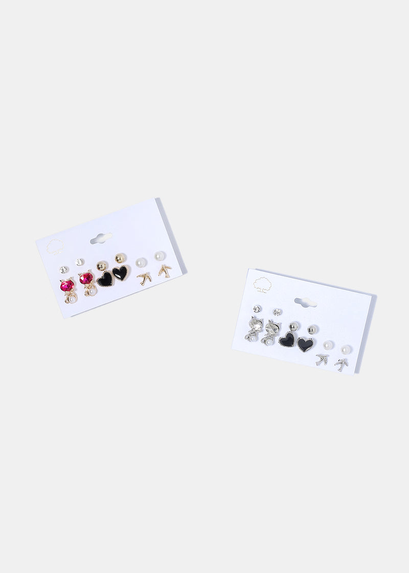 6 Pair Enamel Heart & Cat Stud Set