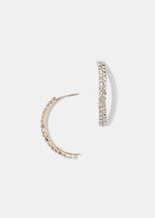 Rhinestone Half Hoop Earrings