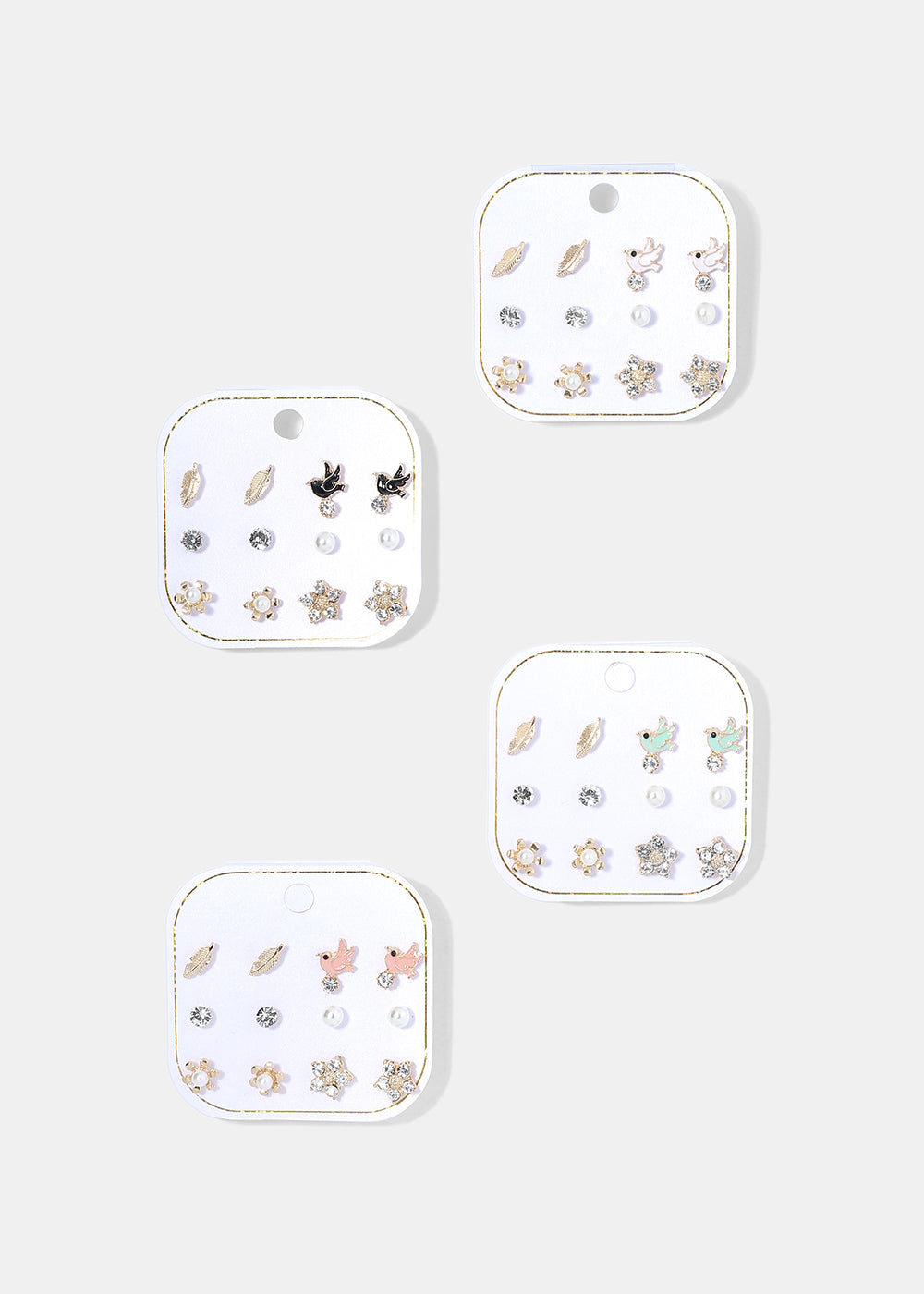 6 Pair Bird & Leaf Earring Set