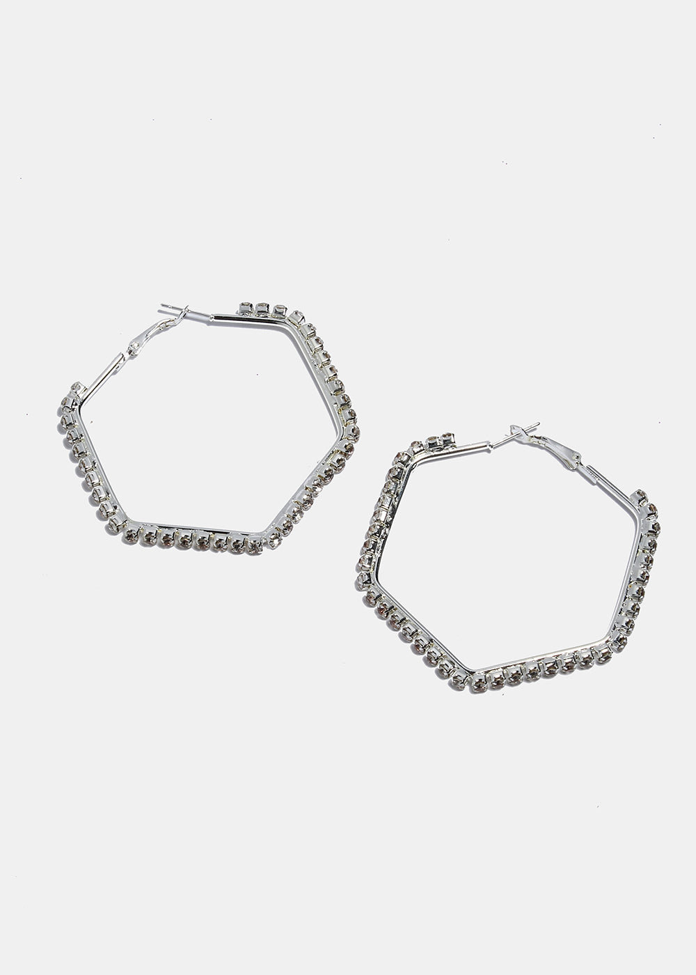 Geo Rhinestone Hoop Earrings