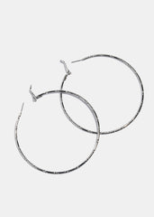 Ridged Silver Hoop Earrings