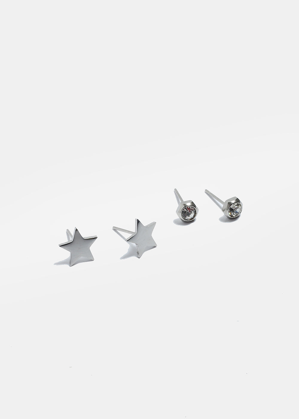 2 Pair Gem & Star Stud Set
