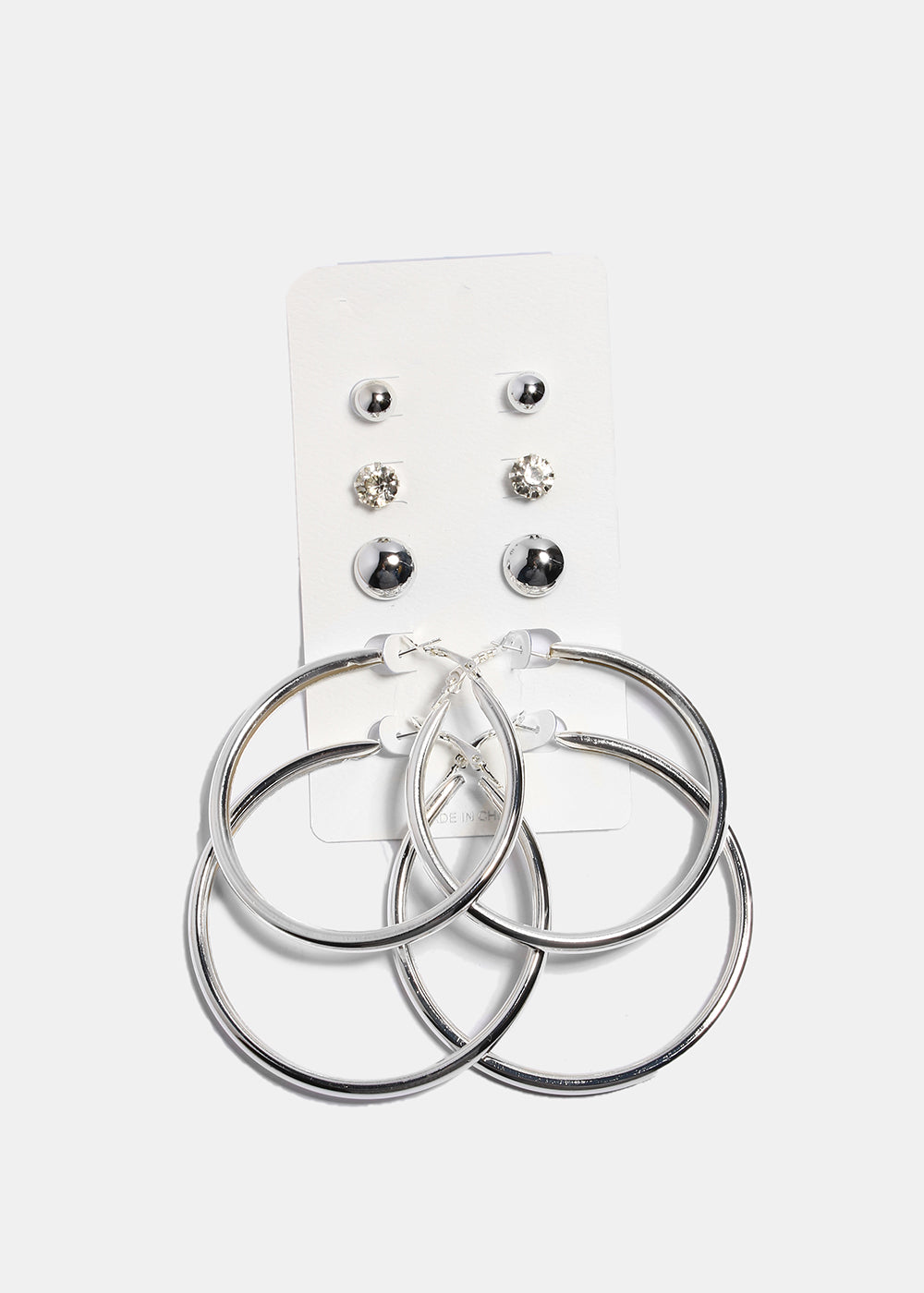 5 Pair Stud & Thick Hoop Set
