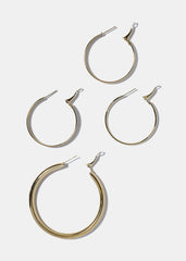 4 Pair Multi Hoop Earring Set