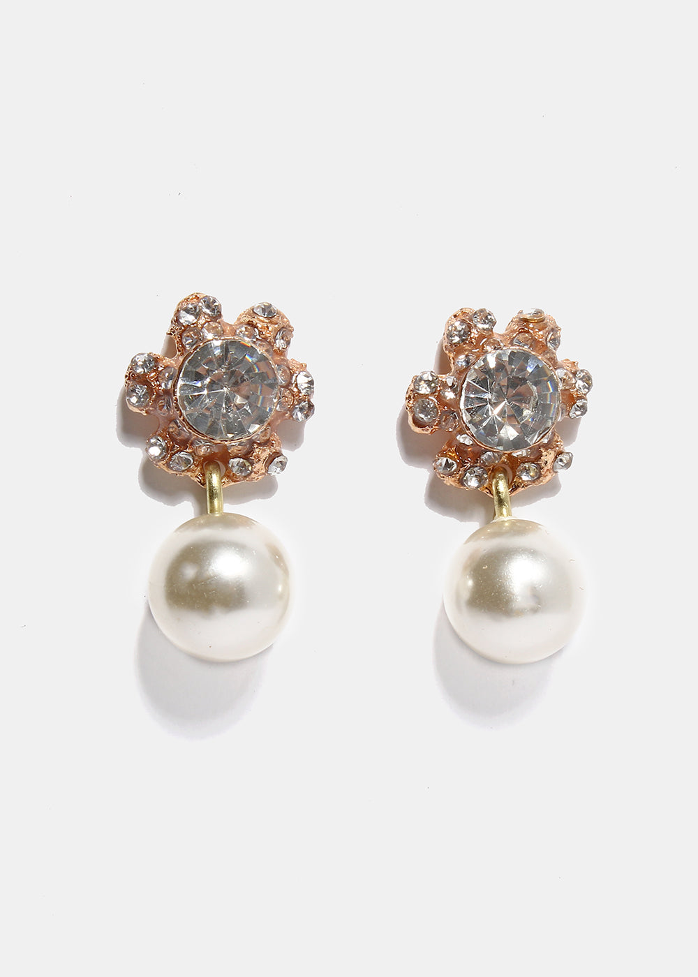 Rhinestone Flower Pearl Earrings