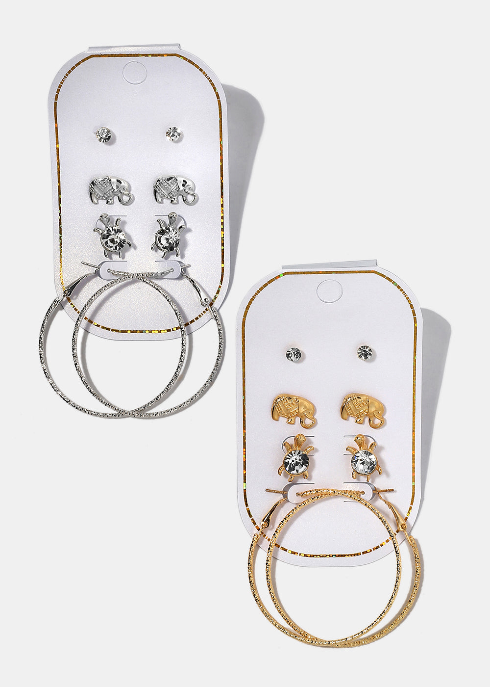 4 Pair Turtle & Elephant Earring Set