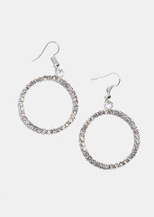 Rhinestone Circle Dangle Earrings