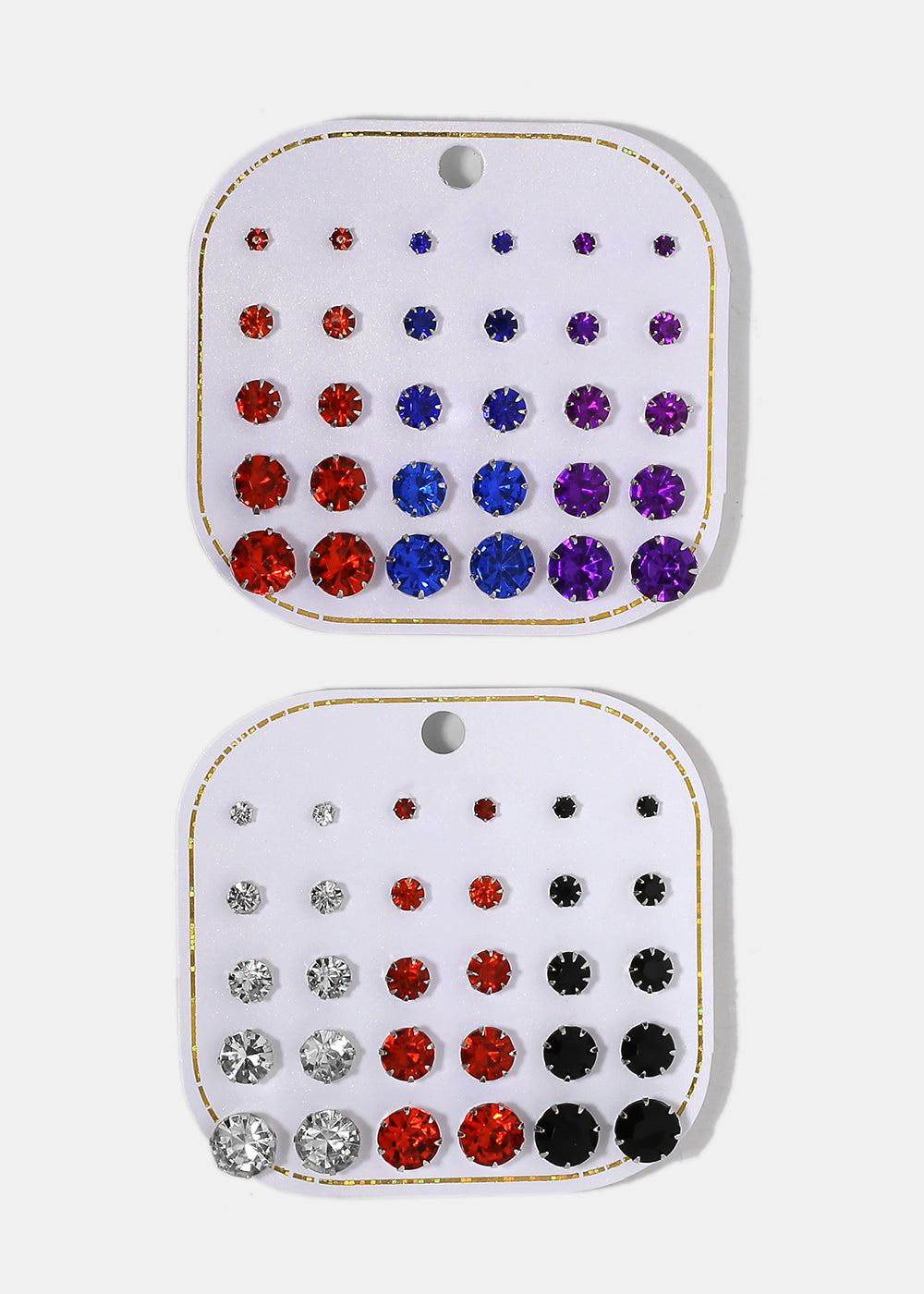 15 Pair Multi-Color Gem Stud Set