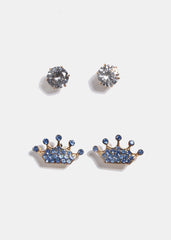 2 Pair Gem & Crown Stud Earrings