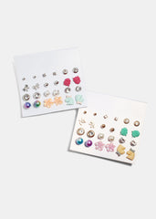 12 Pair Owl & Pony Stud Set