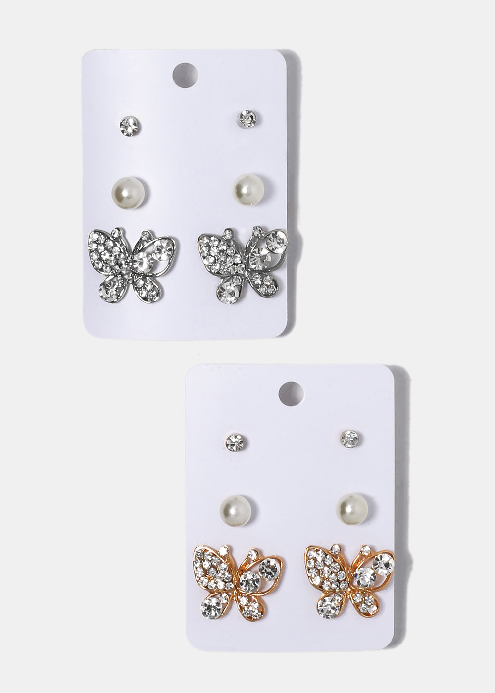 3 Pair Butterfly & Pearl Stud Set