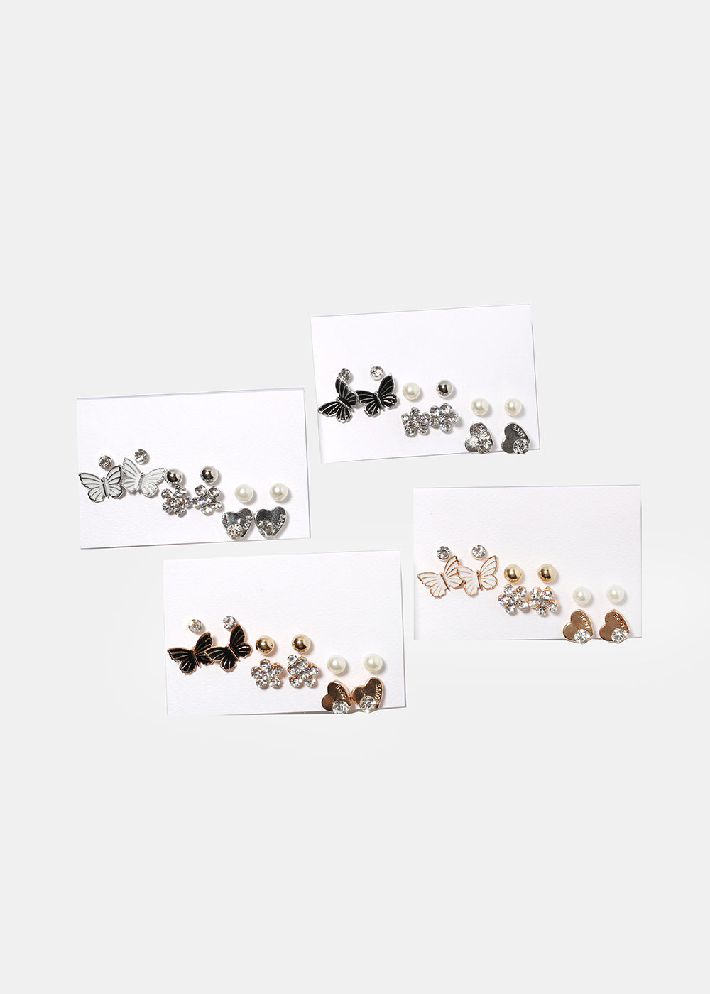 6 Pair Butterfly & Heart Stud Set