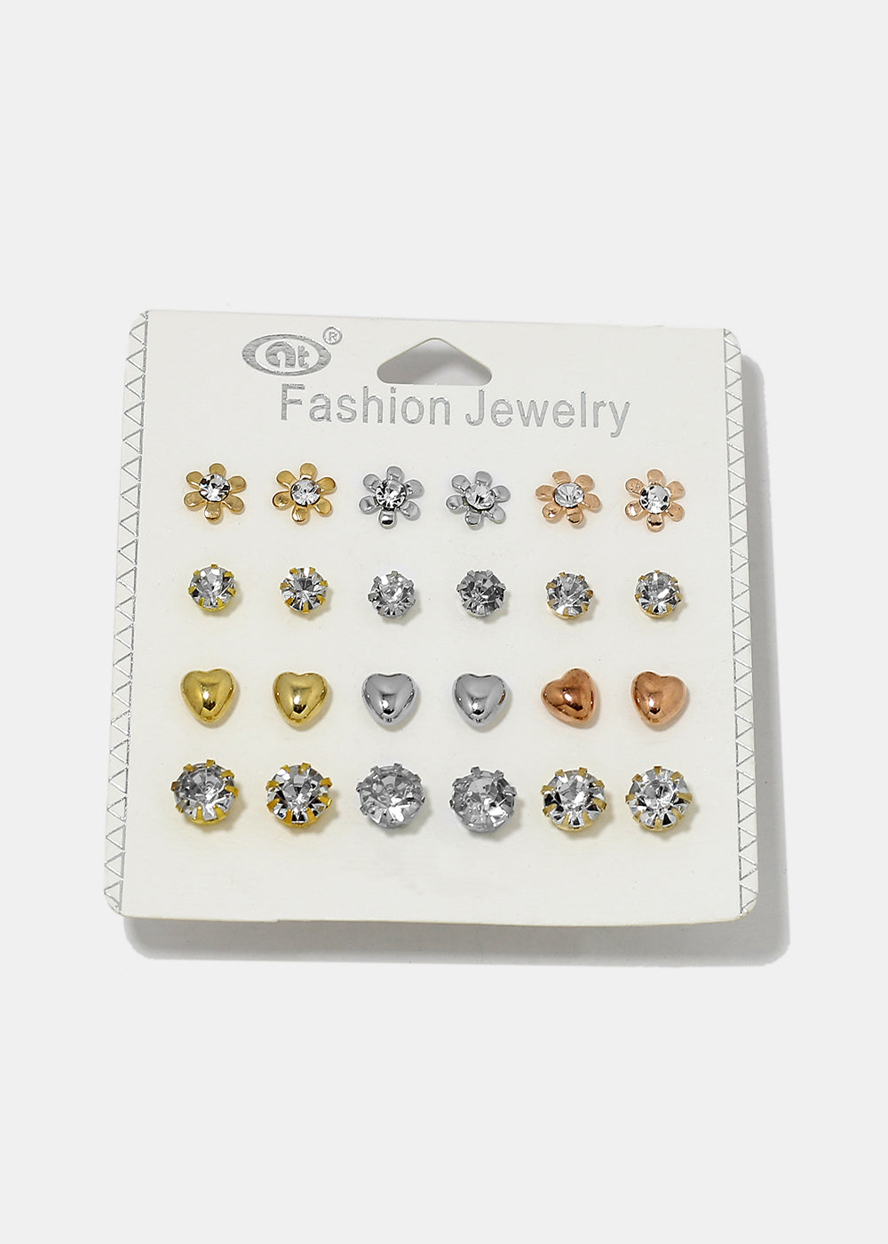 12 Pair Rhinestone Flower Stud Set