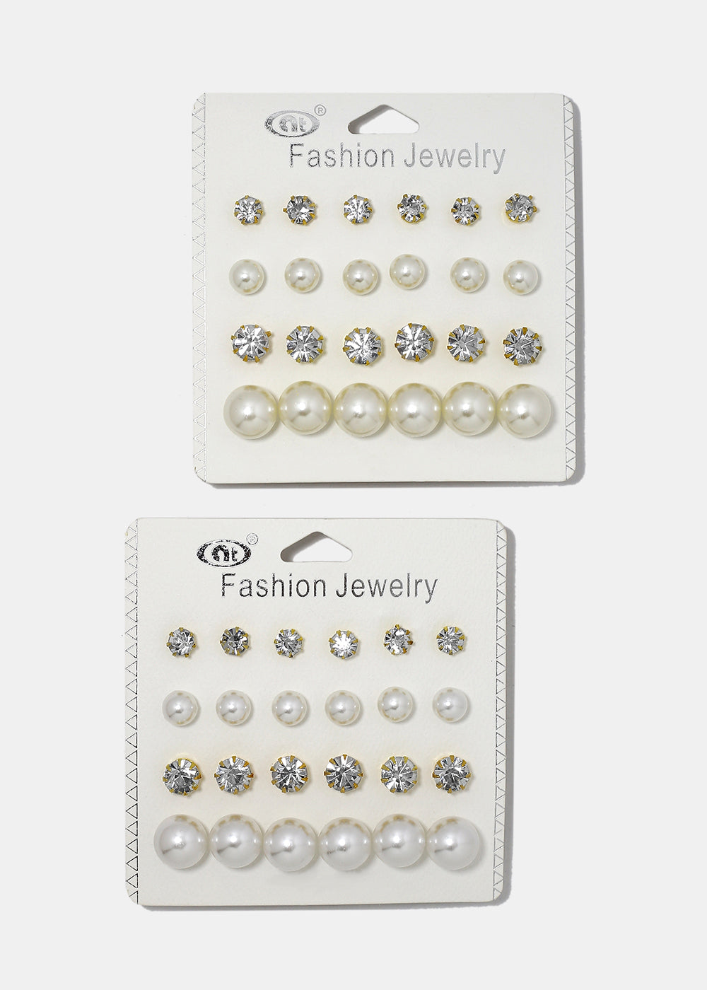 12 Pair Pearl & Gem Stud Set