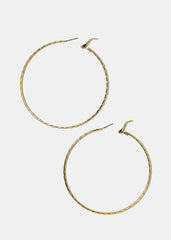 Textured Metal Gold Hoops